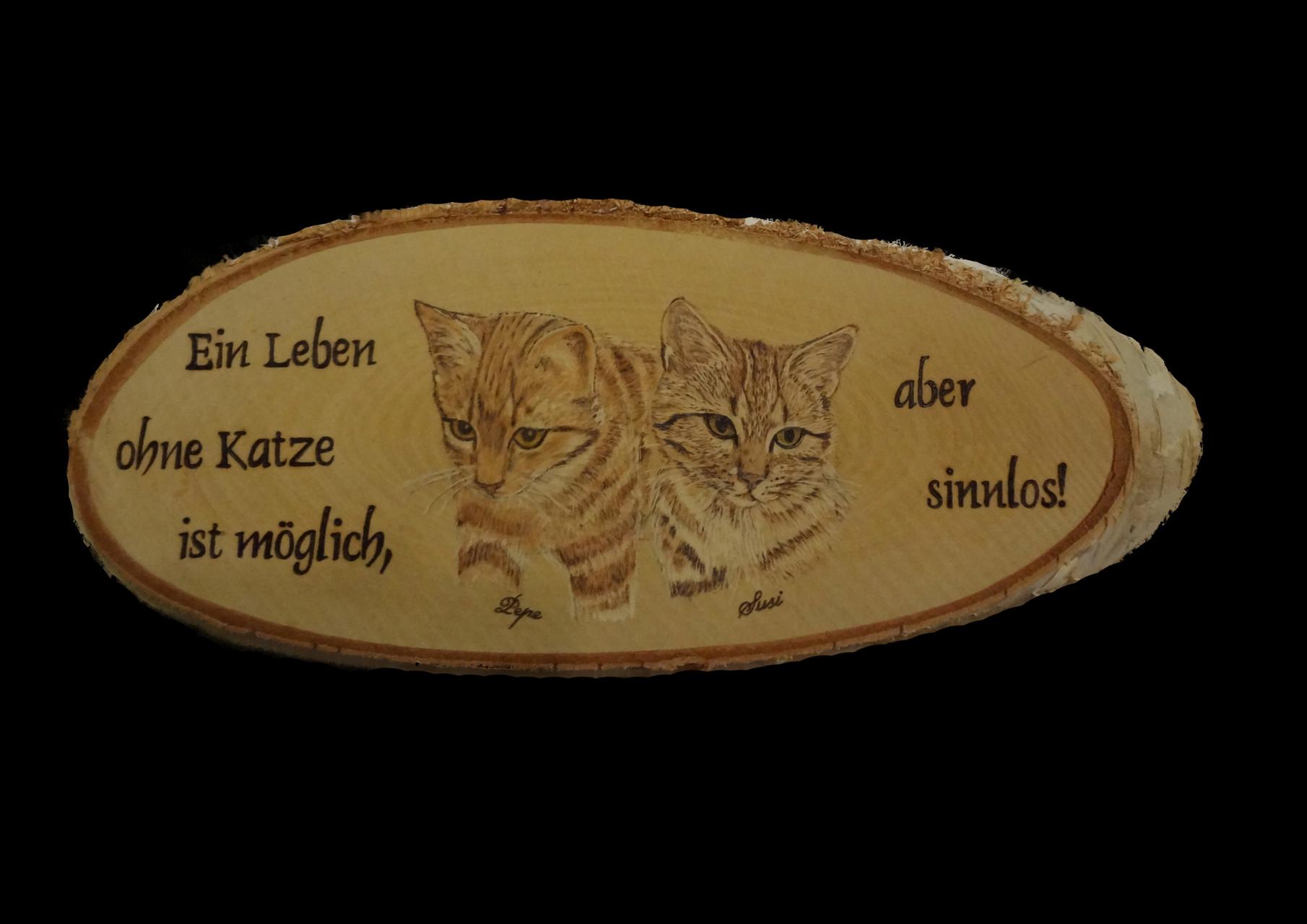 Birkenscheibe mit Foto und Spruch