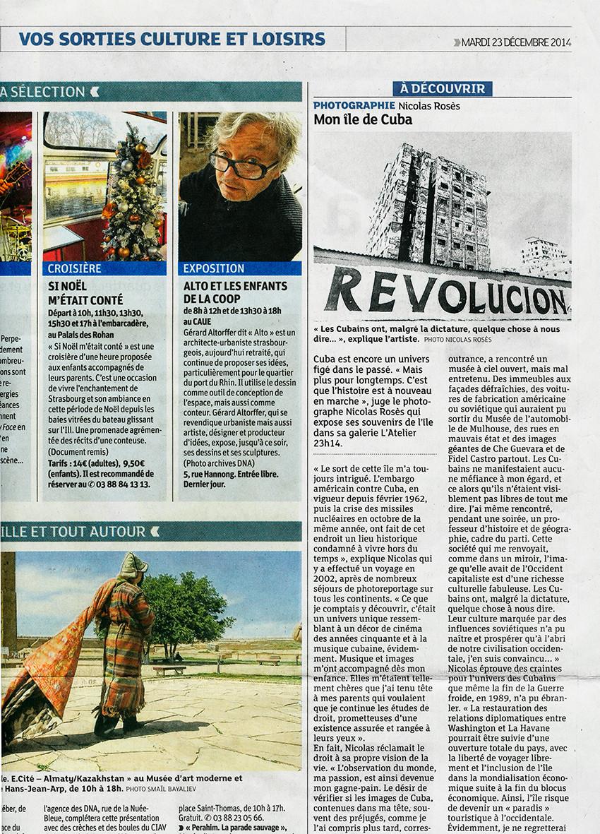 Nicolas Rosès Photographe Cuba DNA Dernières Nouvelles d'Alsace Strasbourg