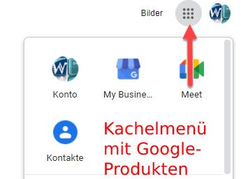 Aufrufen von Google My Business über das Kachelmenü.