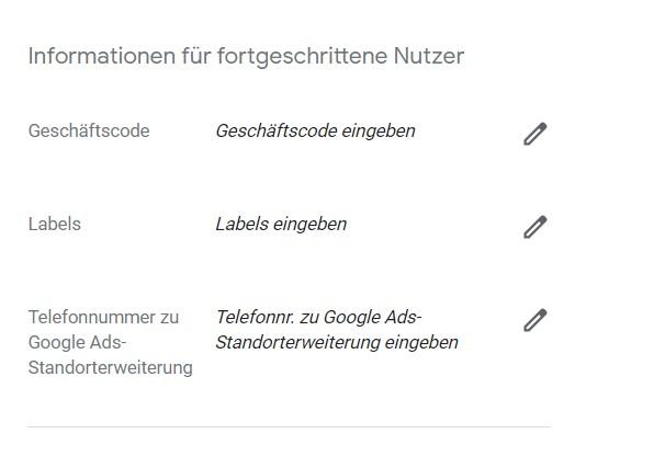Eintragungen für Verwaltung und Organisation, die für den Nutzer nicht sichtbar sind.