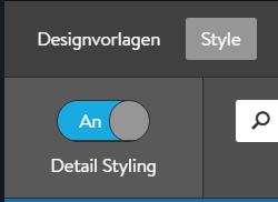 Designauswahl Schieberegler