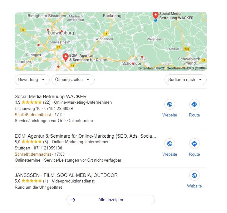 Das Local Pack beinhaltet drei lokale Unternehmen und einen Ausschnitt aus Google Maps. Diese Unternehmen haben die größte Relevanz hinsichtlich der Suchanfrage.