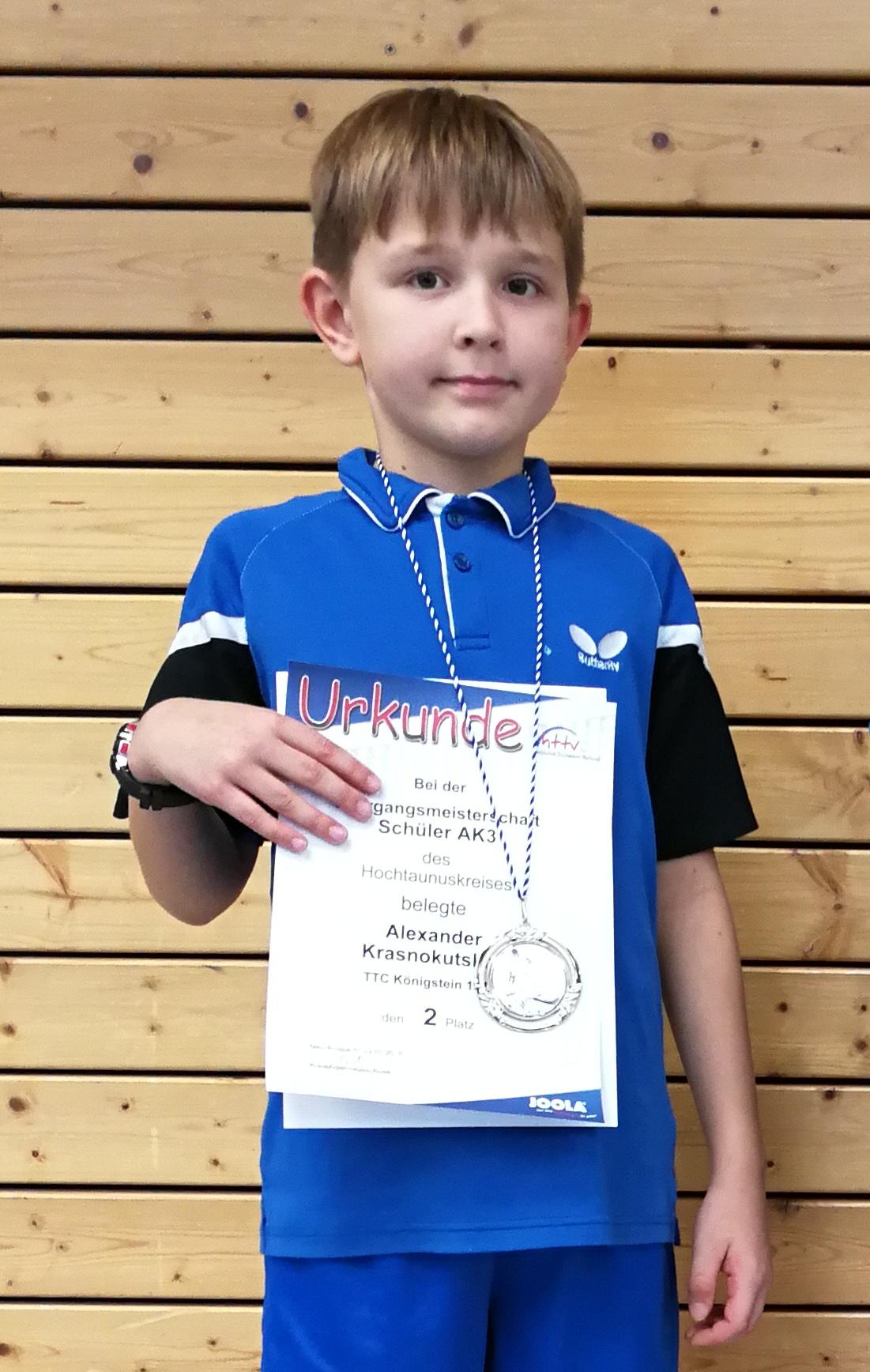 gewann Silber in der Altersklasse 3 - Nachwuchsspieler Alexander Krasnokutskiy