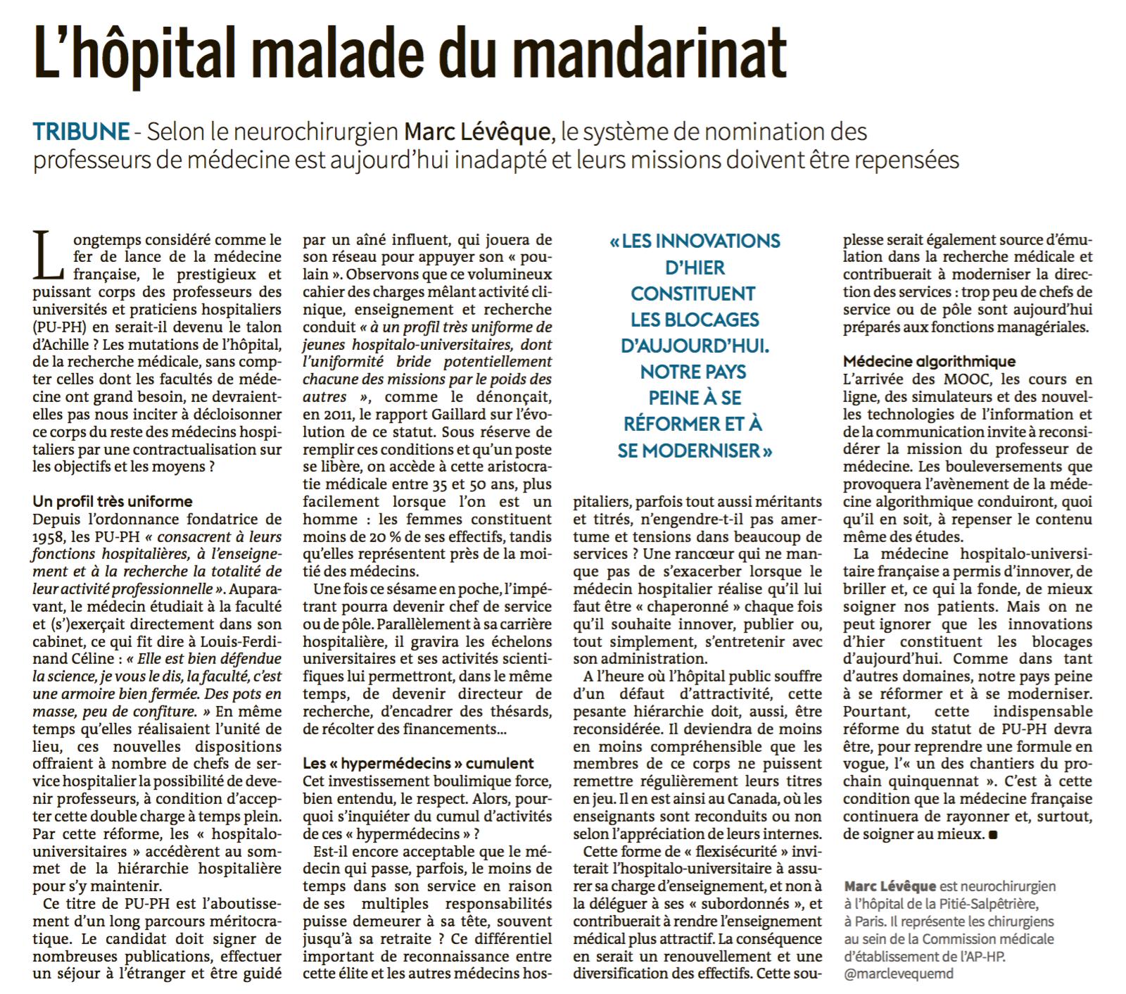 Le Monde - L'hôpital malade du mandarinat - 06/06/16