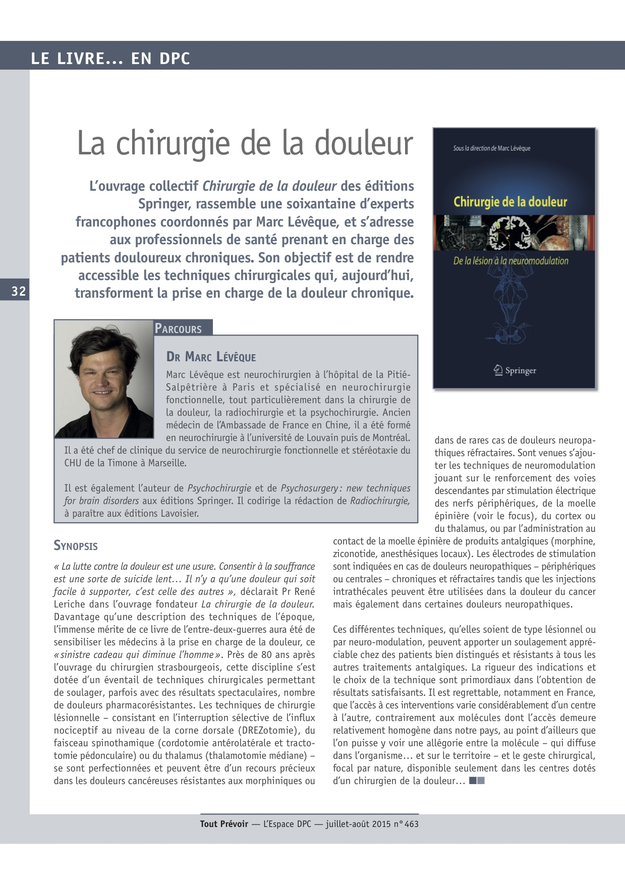 Magazine Tout Prévoir - La chirurgie de la douleur - 01/07/15