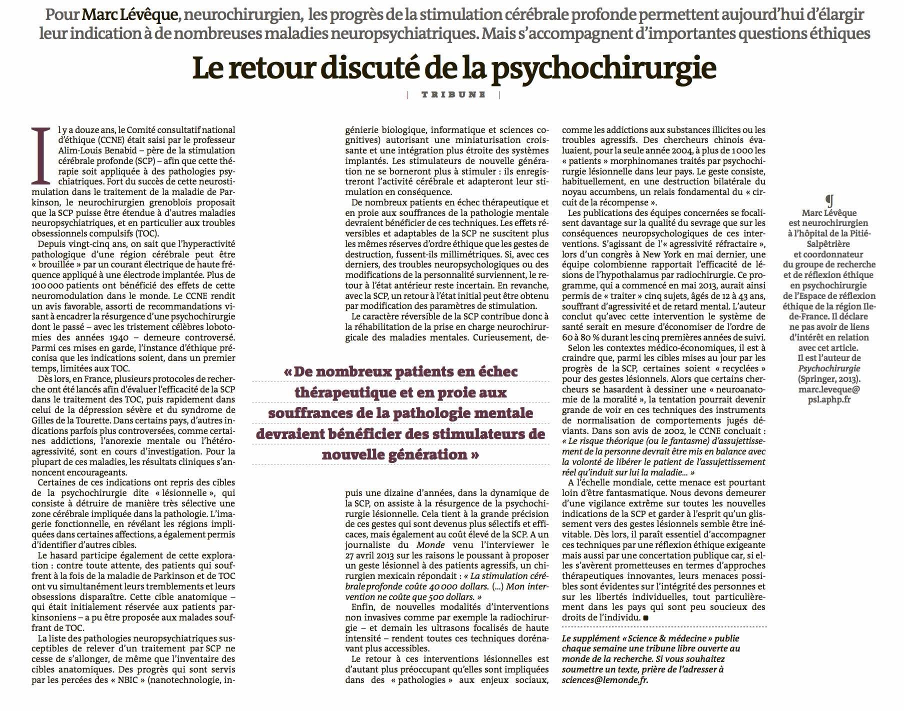 Le Monde - Le retour discuté de la psychochirurgie - 25/08/14