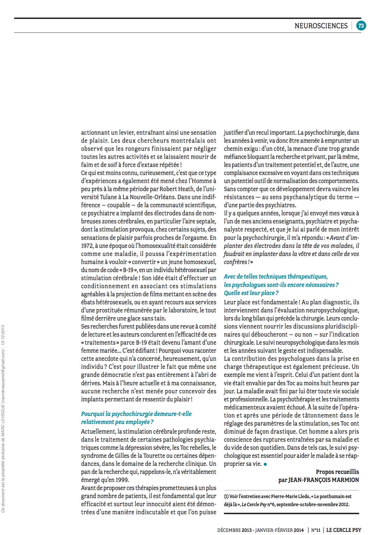 Cercle Psy - La psychochirurgie : entre promesse et repentir - 02/02/14   (6)