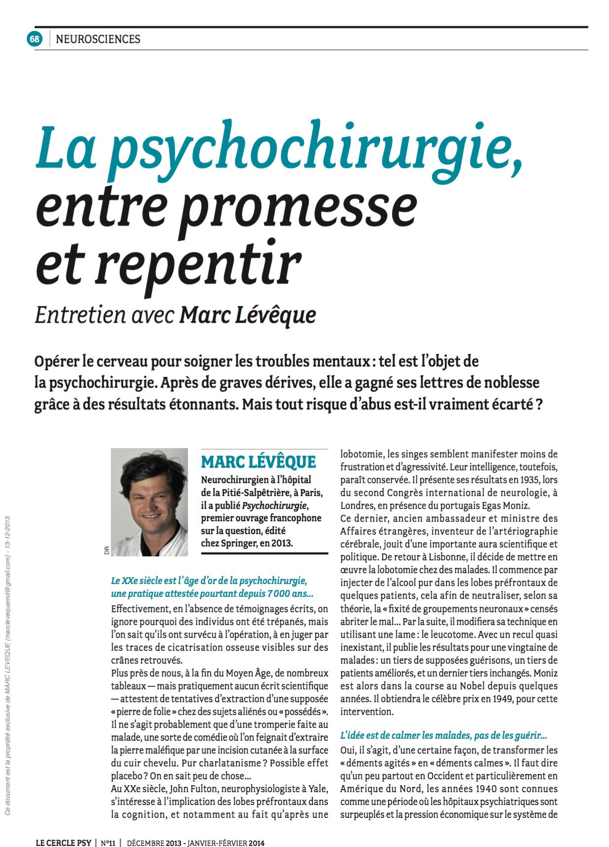 Cercle Psy - La psychochirurgie : entre promesse et repentir - 02/02/14   (1)