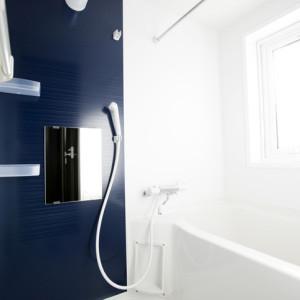 お風呂場は色を基調とし、アクセントとして濃紺の壁材を使用