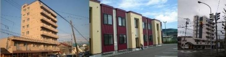 8階建てマンションと2階建てアパート
