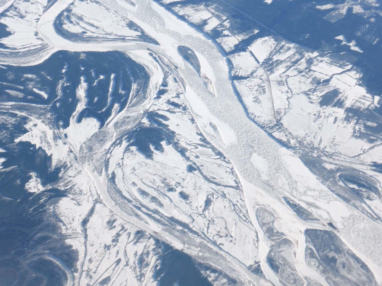 Frozen braided river
