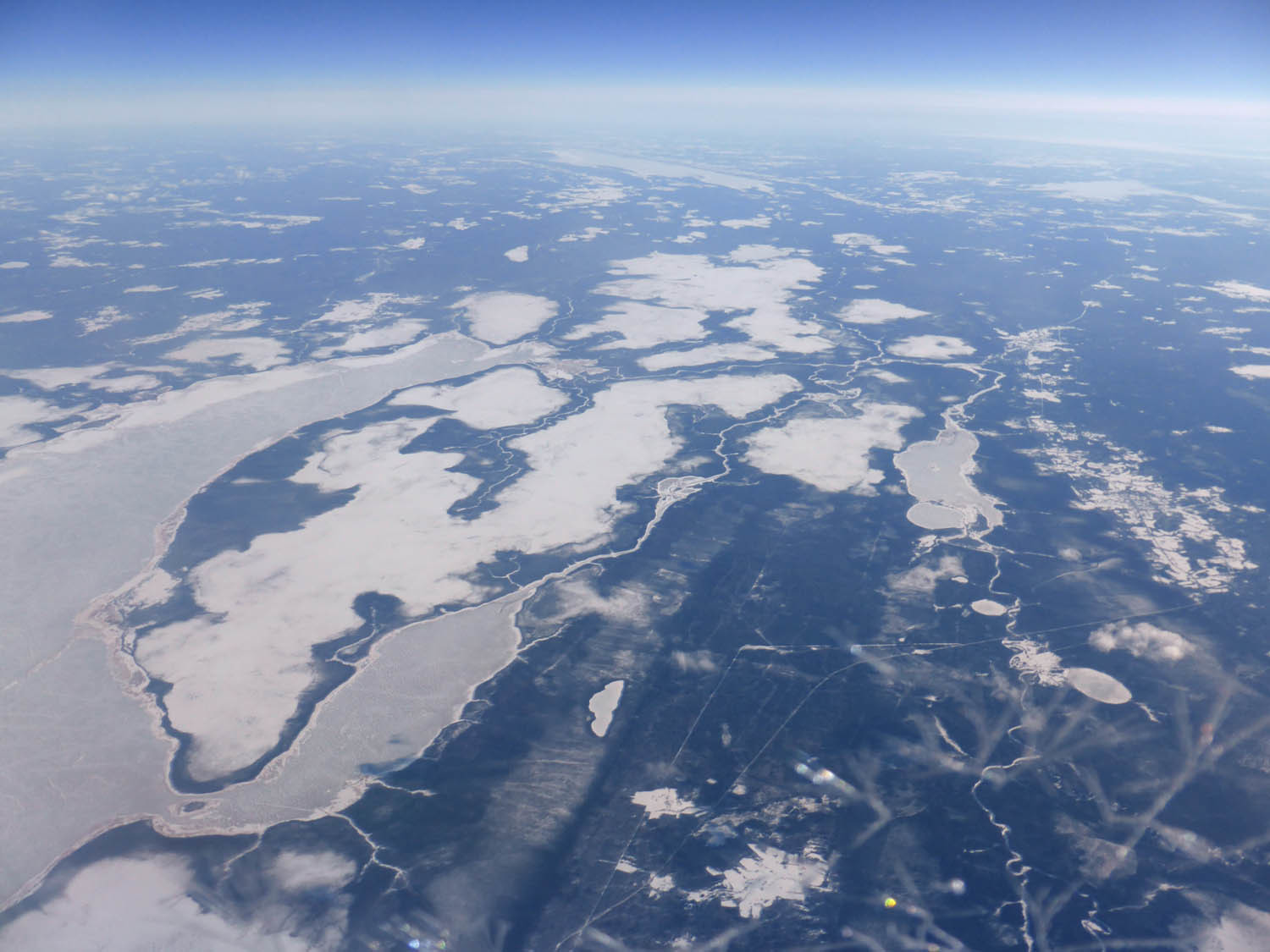 Frozen lake and wetlands