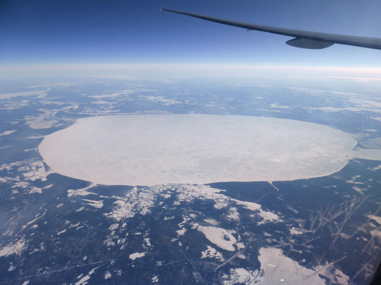 Frozen round lake