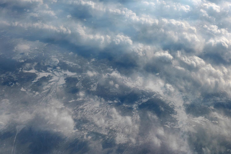 Frozen landscape under the clouds