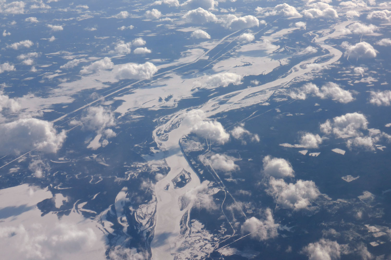 Frozen braided river with canals
