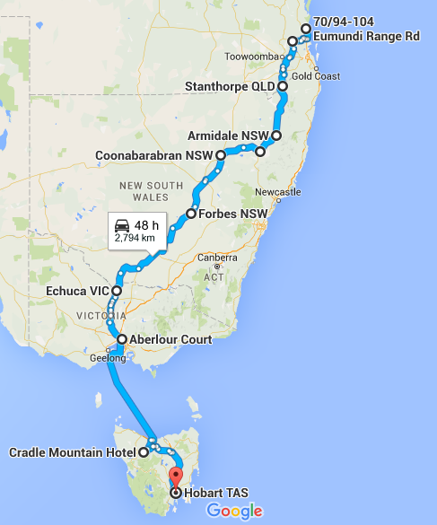 Our road-trip route
