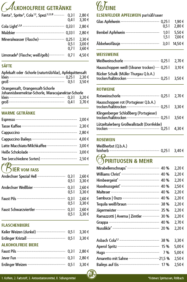 Getränke - Kelterschänke Elsenfeld