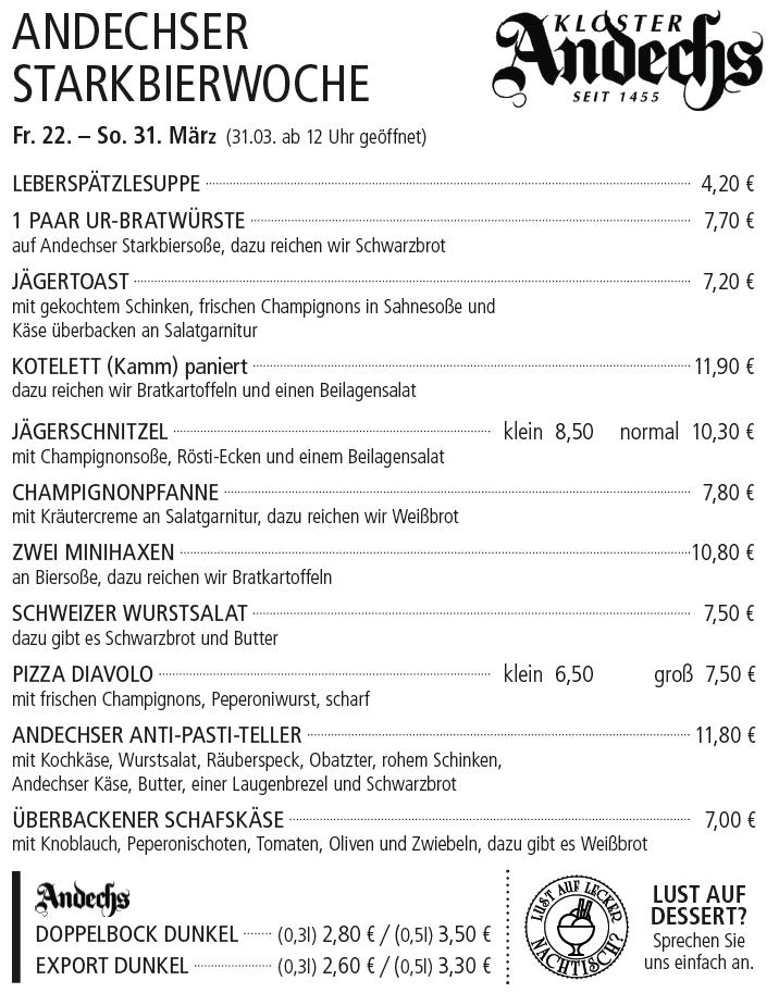 Andechser Starkbierwochen - Kelterschänke Elsenfeld