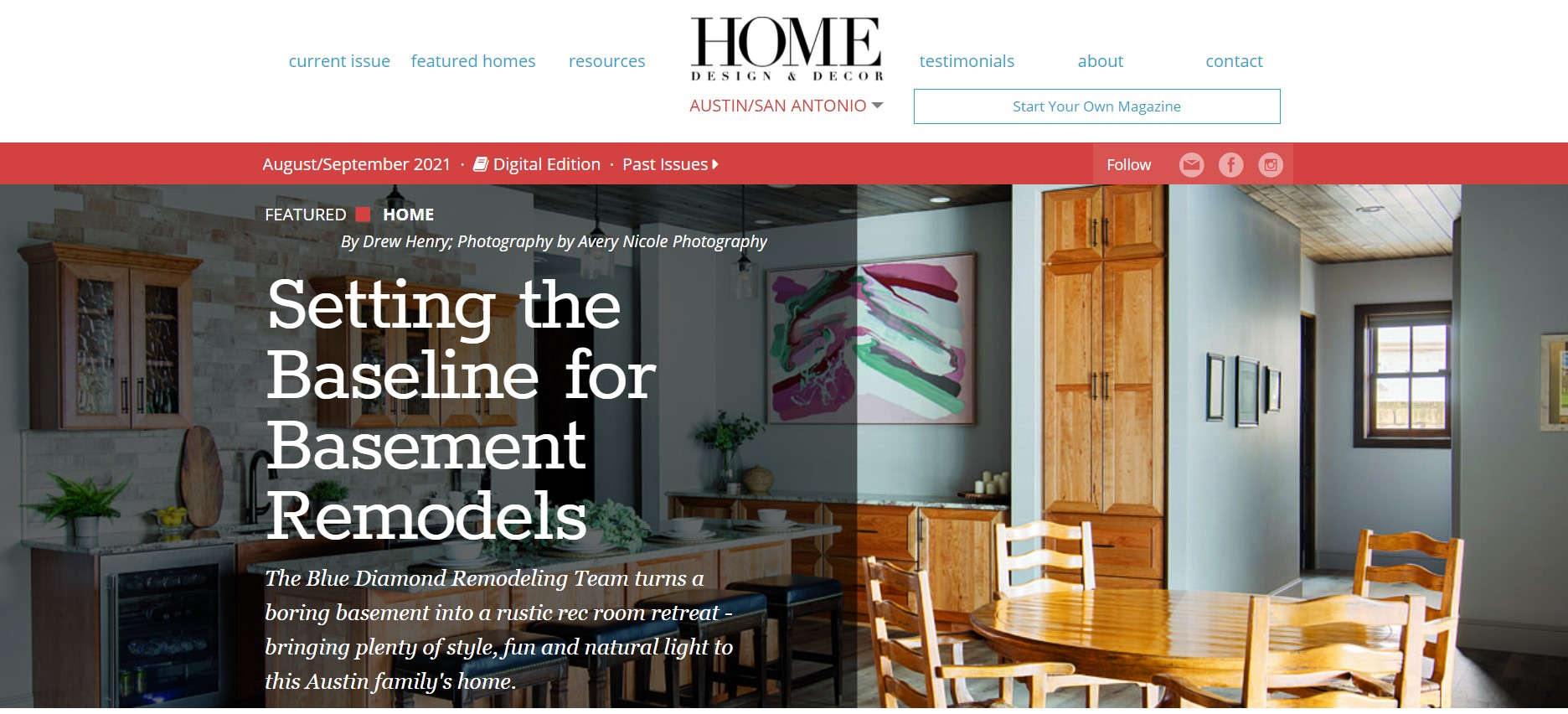 Home Design & Decor article about Blue Diamond Remodeling