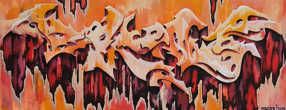 PAT23 - Graffiti Style Leinwand 50x20