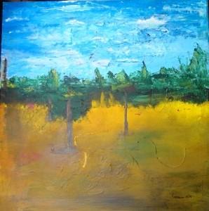 60 x 60 ; Nr. 32  Landschaft gespachtelt