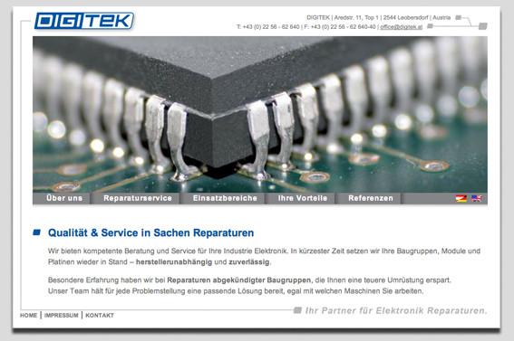 Redesign der Corporate Identiy und der Website inkl. Unternehmenspräsentation in zwei Sprachen sowie Drucksorten, http://www.digitek.at