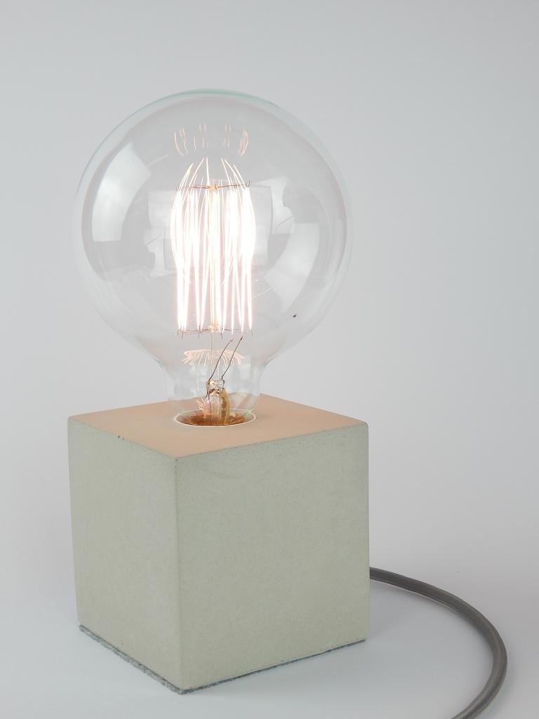"""Beton Lampe cube-betonlampe (tischlampe) mit textilkabel """"blau-weiß"""", 10x10x10"""