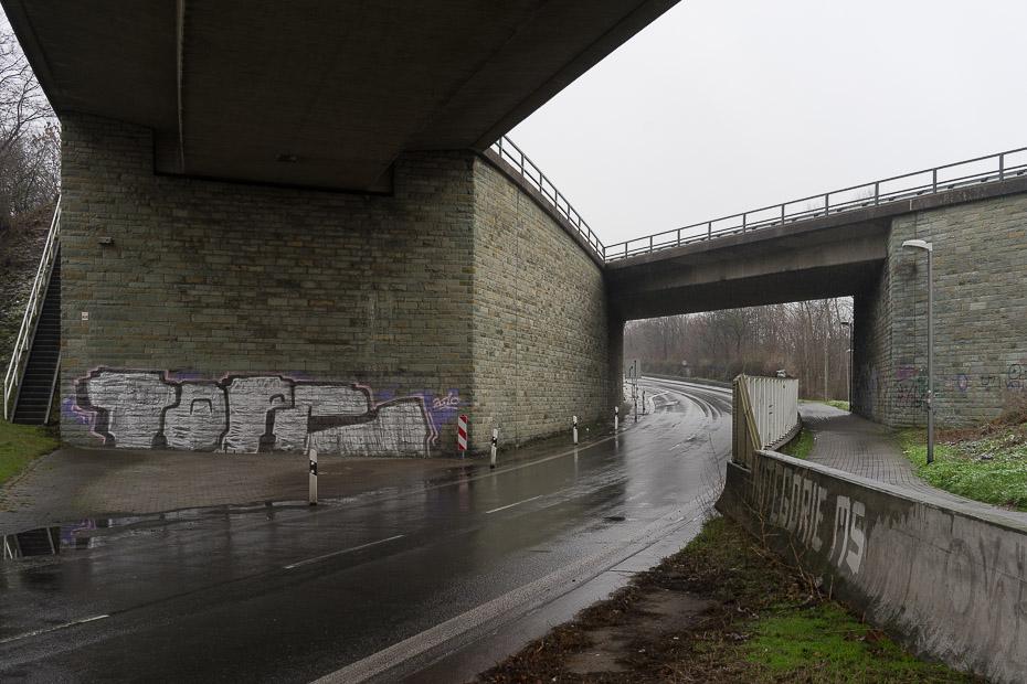 """Autobahnausfahrt """"Die Spinne"""" im Geistviertel von Münster"""