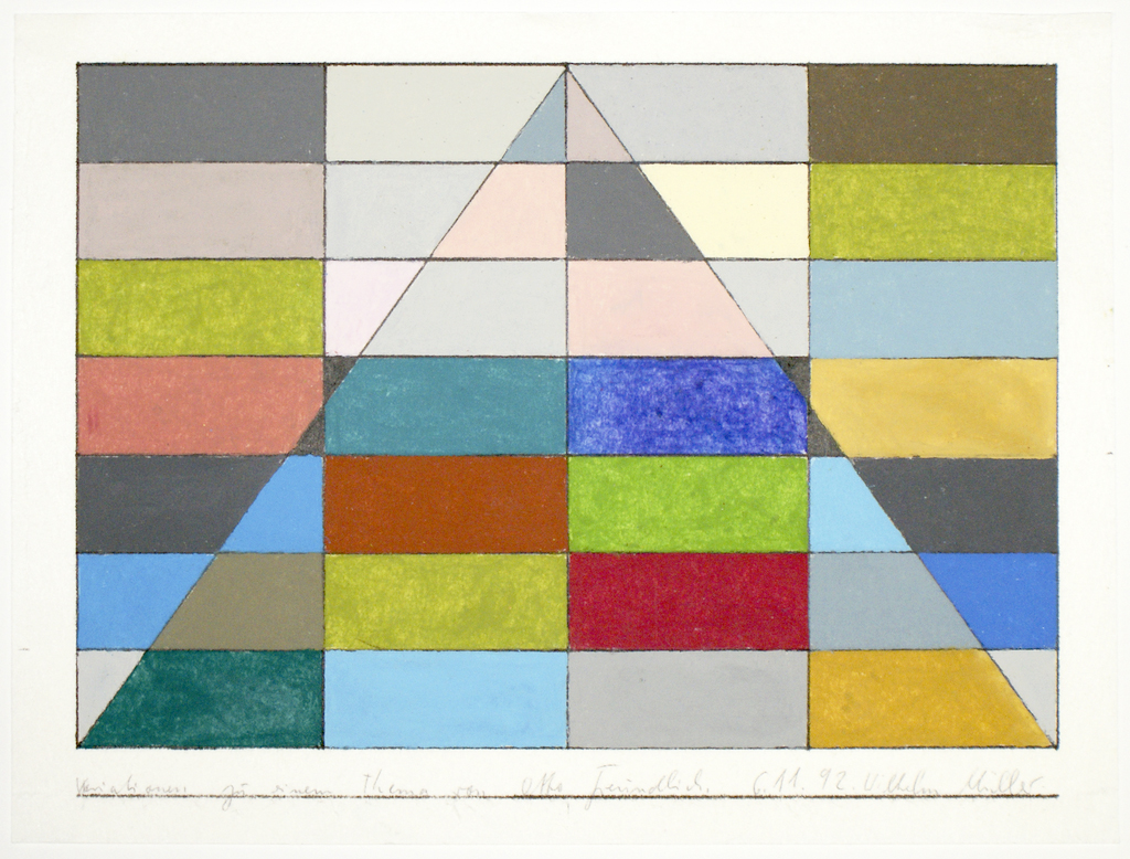 <b>6.11.92, Variationen zu einem Thema von Otto Freundlich</b><br> 1992, Ölkreide, farbig, Tusche auf Japanpapier, <br>26 x 29 cm