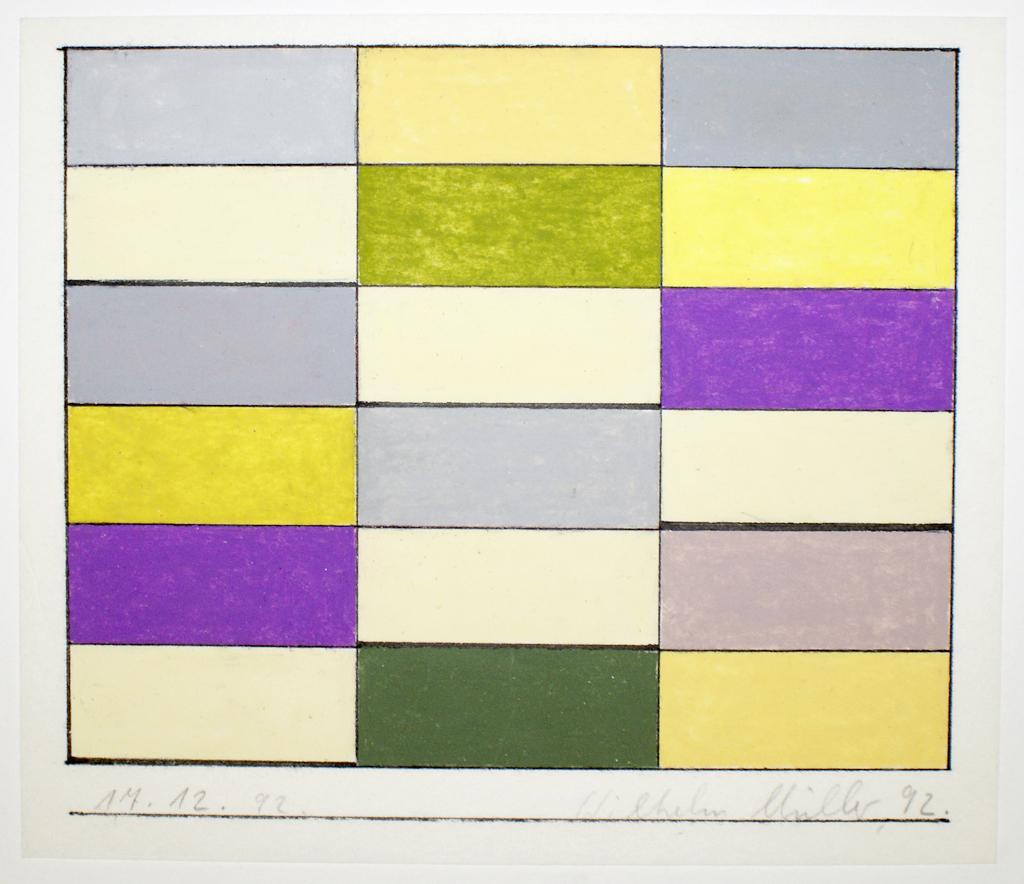 <b>17.12.92, Variationen zu einem Thema von Otto Freundlich</b><br> 1992, Ölkreide, farbig, Tusche auf Japanpapier, <br>25,4 x 29,5 cm