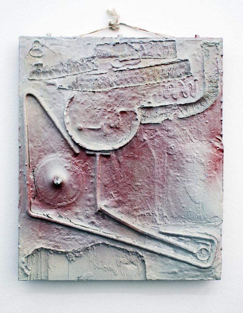 <b>o. T.</b><br>1964/1975, Teile der Ruine der Sophienkirche, verschiedene Materialien, Lack auf Holztafel, <br>60 x 49 cm