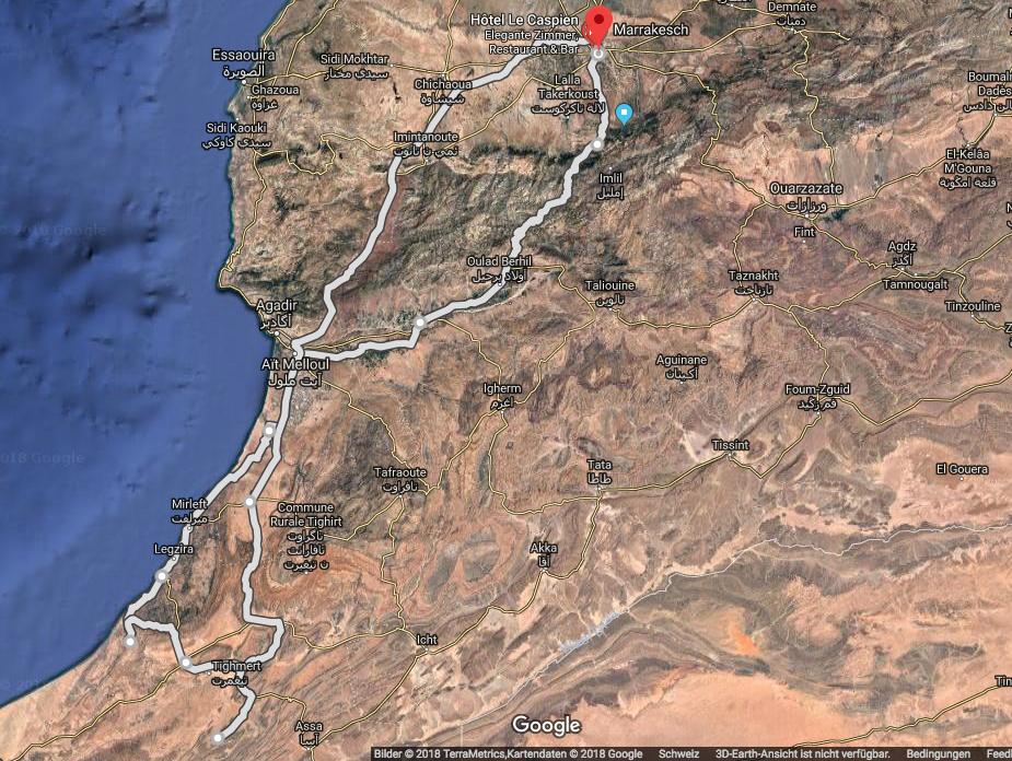 Reiseroute: ca. 1250km (Bild: Google Maps)