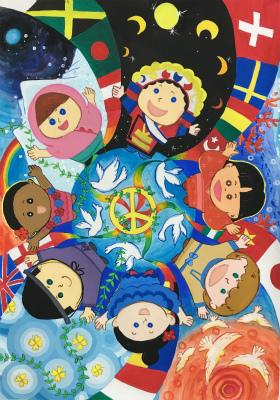【平和ポスター部門】最優秀賞「平和は世界の空へとつながる」池間 新(砂川中1年)