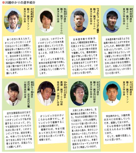 川越ゆかりの選手紹介