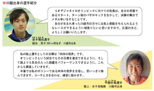 川越出身の選手紹介、金子雅紀選手、甲斐好美選手