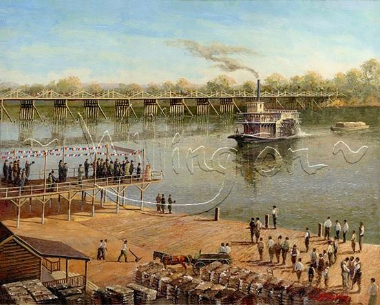 Die Brücke über den Savannah River, gebaut 1814 von Henry Shultz alias Klaus Hinrich Klahn aus Dahme