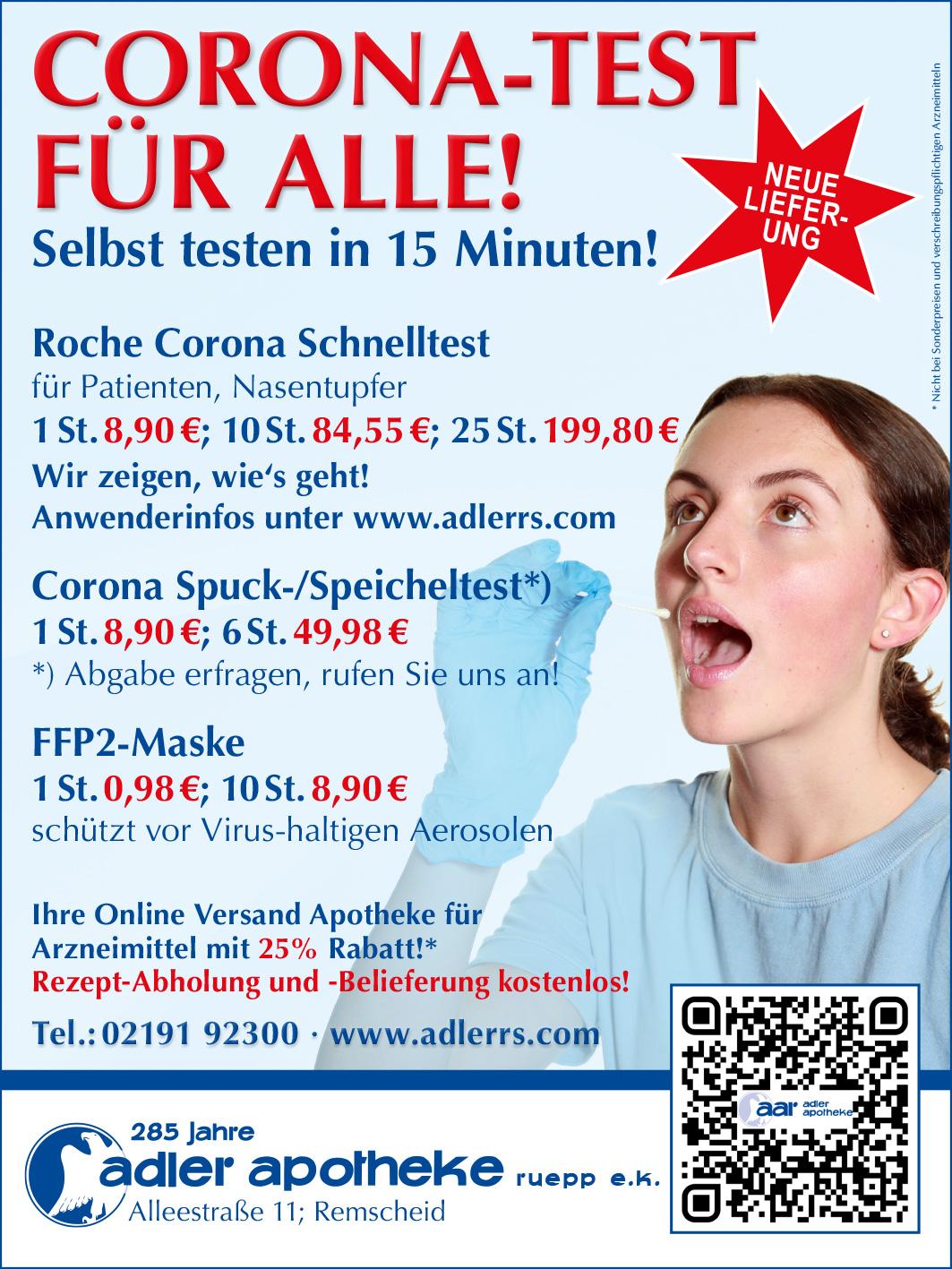 Corona Test für Alle! Selbst testen, Nasenabstrich genügt!