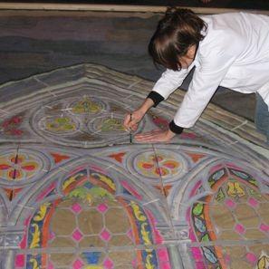 teatro jofre decorado papel vidriera restauración
