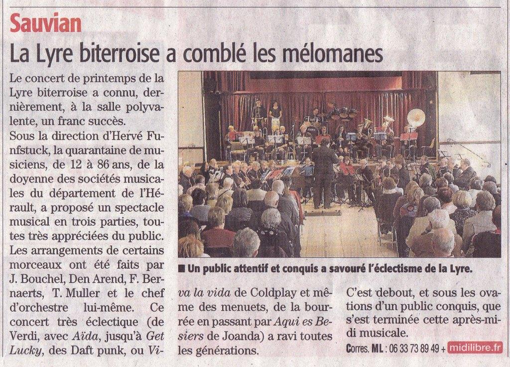 Article sur le Concert de la Lyre Biterroise à SAUVIAN le 9 Avril 2016