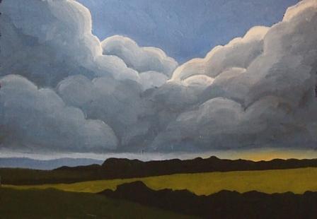 Eifel, Mischtechnik auf Papier, 15 x 10,5 cm, 2018