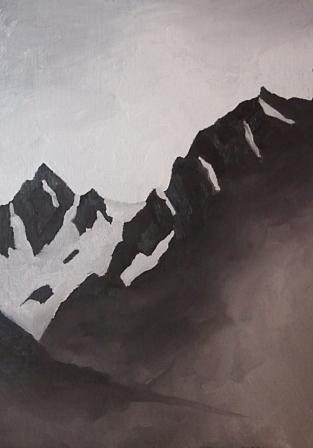 Silvretta Montafon, Mischtechnik auf Papier, 15 x 10,5 cm, 2018
