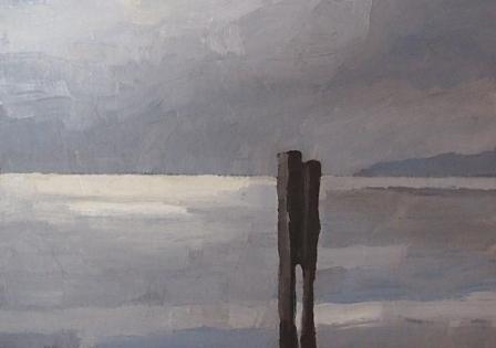 Bodensee, Mischtechnik auf Papier, 15 x 10,5 cm, 2018