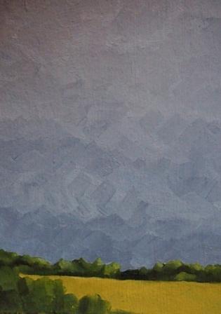 Oberbergisches Land, Mischtechnik auf Papier, 15 x 10,5 cm, 2018