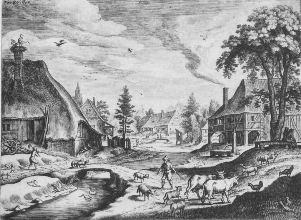 Therwil auf einem Stich von M. Merian d. Ä., um 1620