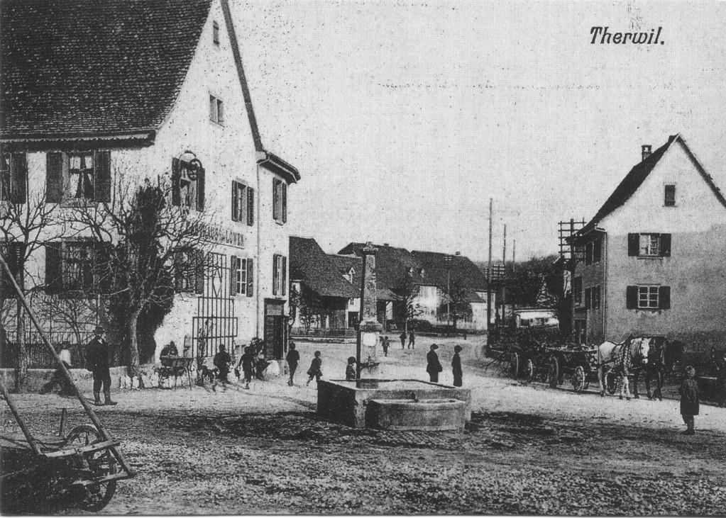 Der alte Gasthof zum Löwen an der Bahnhofstrasse, um 1940