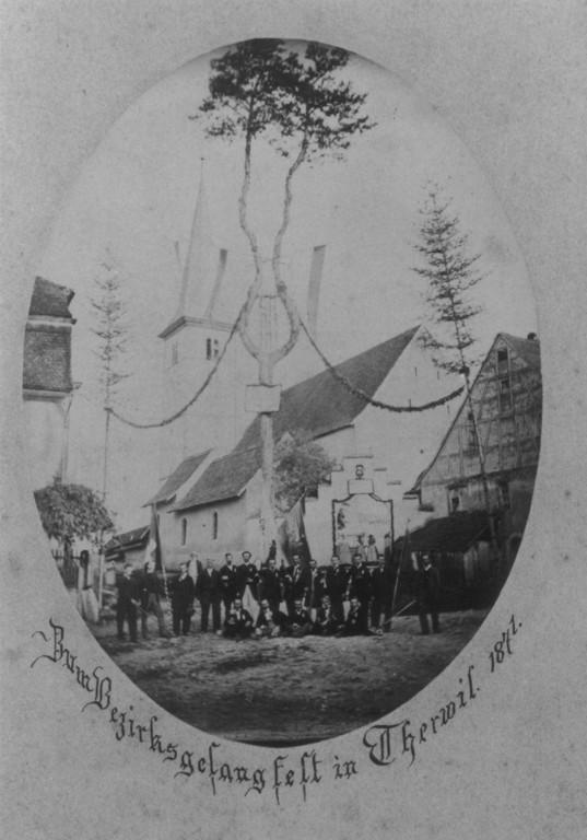 KIrchrain mit Kirche, Kapelle und Dorfmuseum, älteste Foto 1871