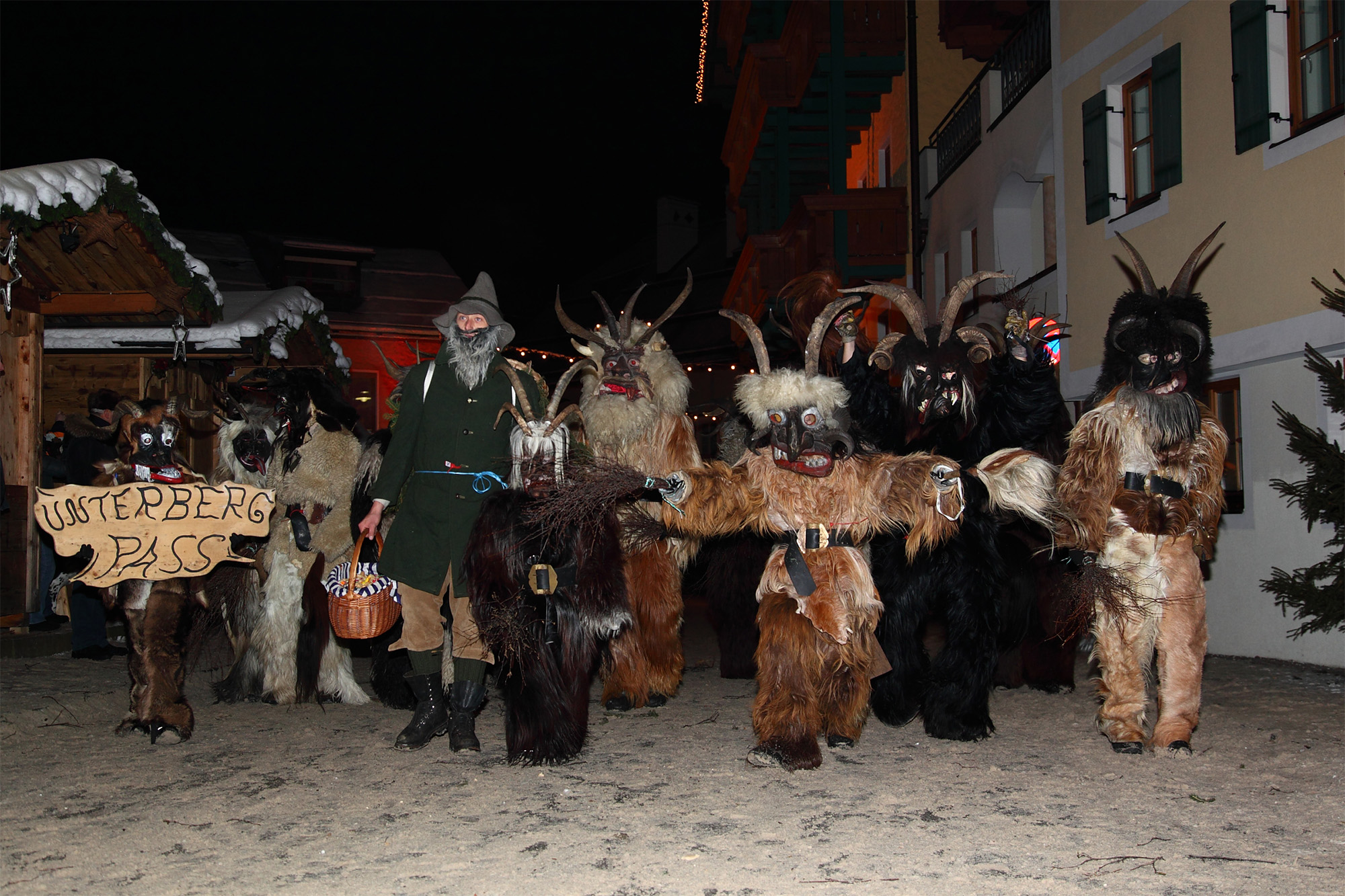 Mini Krampus Parade at the Christmas market in Grossarl