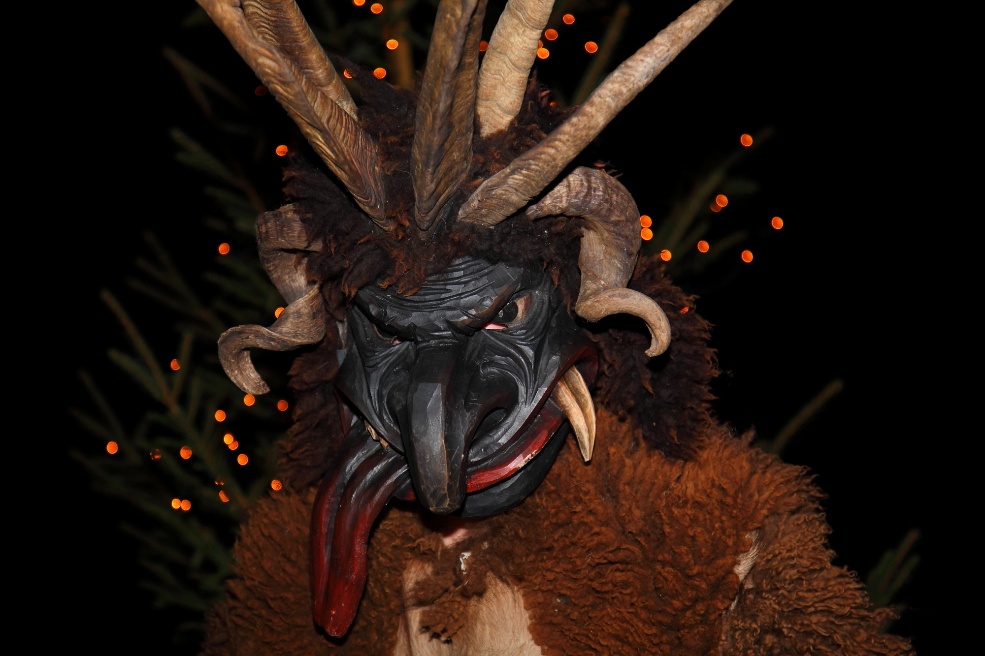 Krampus and Perchten at the advent market in Grossarl