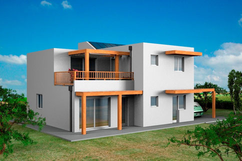 villa moderna, 2 piani, 160mq
