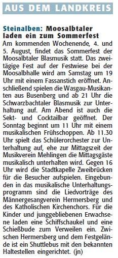 Ankündigung Rheinpfalz, Pirmasenser Rundschau, 02.08.2012